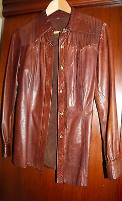Very Rare Vintage 1970S Ladies Leather Shirt  Brown Leather Size 8