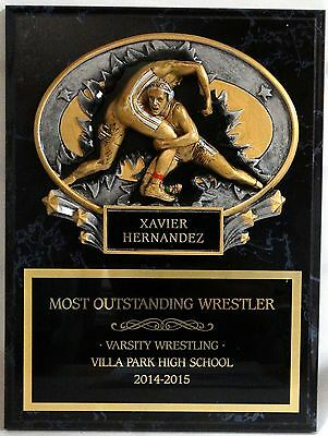 """Wrestling - Coach's / Sponsor Plaque 9"""" x 12"""""""" with MX2027 Oval"""