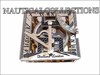 Brass Sundial Compass Maritime Vintage Nautical Gift Pocket Rectangle Compass
