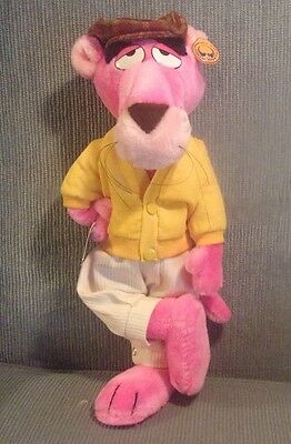 """Vintage 1980 Pink Panther Plush Cat Figure Touch of Velvet Mighty Star 15"""" Tags"""