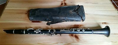 Antique vintage Wood Clarinet or similar instrument with case SHIPS FREE FAST
