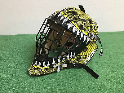 RARE Senior ITECH PROFILE 950 Hockey GOALIE MASK Yellow LIZARD Dragon Bauer USED