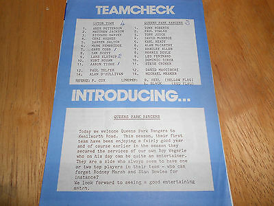 Luton Town Reserves V Qpr Reserves - 7Th April, 1990