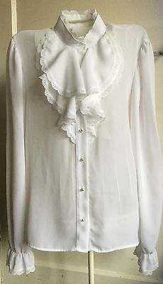 Vintage Marks & Spencer 1980's New Romantic Size 12 Frilled Blouse Futuristic