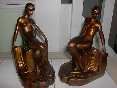 1930's NUDE LADY MODEST MAIDEN STATUE BOOKENDS *  ANTIQUE art deco BRONZE FINISH