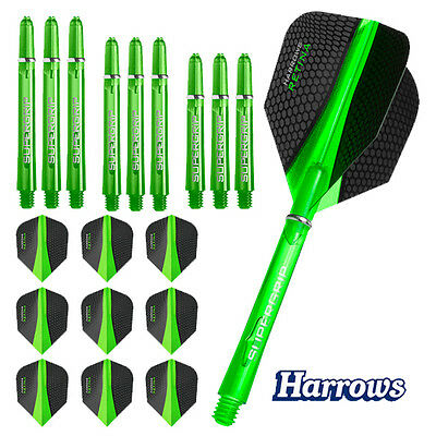 9 Harrows Retina Flights & 9 Supergrip Shafts als Combo Kit Spar Set
