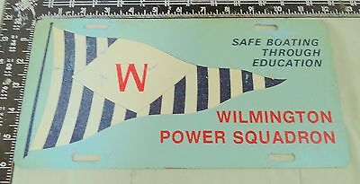 """Vintage Delaware Boat""""WILMINGTON POWER SQUADRON"""" Man Cave License Plate Sign #2"""