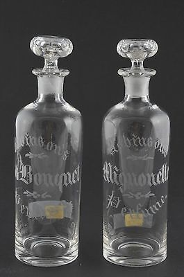 2 ANTIQUE GLASS PERFUME COLOGNE CLEAR BOTTLES by ROBINSON w/ old price labels