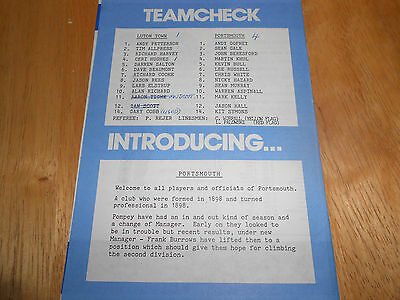Luton Town Reserves V Portsmouth Reserves - 3Rd April, 1990