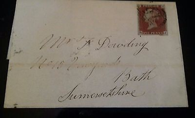 Qv 1841 1d red imperforate  on cover.1844 canc.cat £40.