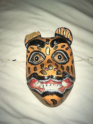 Leopard Head Wood Wall Art Hanging Cat Mask Hand Painted & Carved As Is