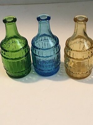 3 Vintage Glass WHEATON Bottles ROOT BITTERS BARREL SHAPED-AMB.BLUE.GREEN