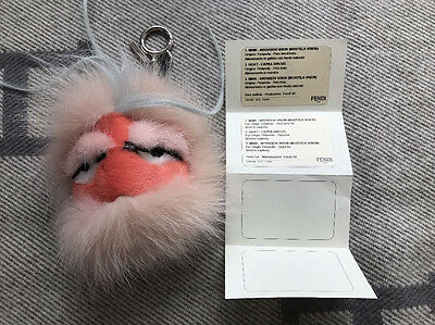 Fendi Fur Monster Purse Handbag Charm Keychain, Guaranteed Authentic