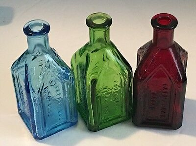 3 Vintage Glass WHEATON Bottles Col. Sam Johnson Bottle & Chief Wahoo Tonic