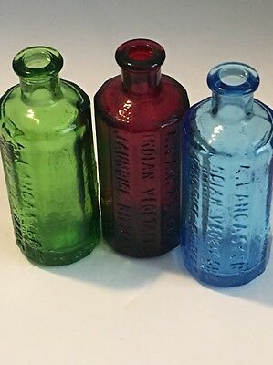 3-WHEATON miniature A. Lancaster Indian Vegetable Jaundice Bitters, Sam Johnson