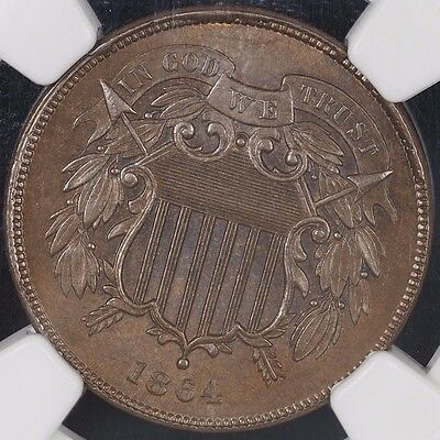 1864 Two Cent NGC MS64BN 2C