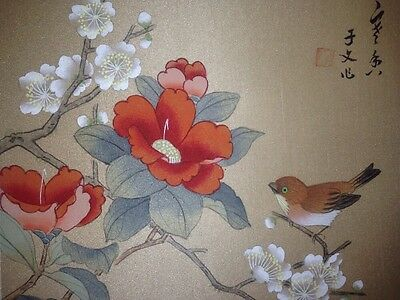 Vintage Japanese Woodblock Print Bird Perched On A Beautiful Tree Signed