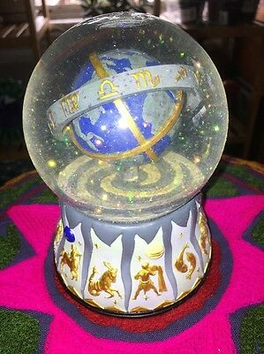 Vintage world globe astrology zodiac signs ball fortune Teller Musical Snowglobe