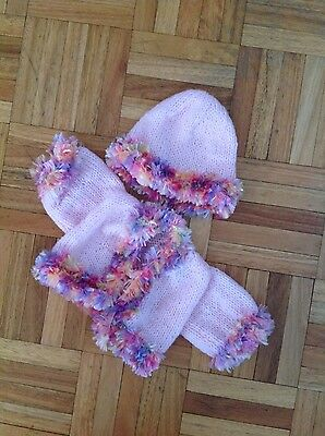 baby born doll clothes-pink knitted cardigan and beanie
