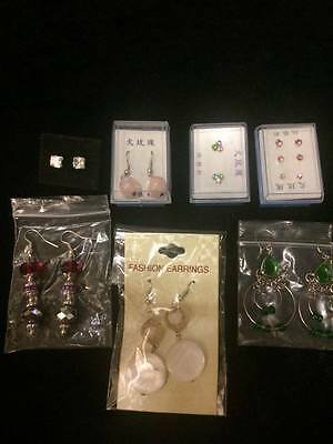 Earrings job lot, 9 pairs, Mixed designs, Pierced. New.