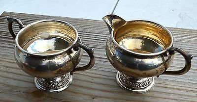 Estate Sterling Alvin Silver Sugar Bowl & Creamer Set-S219-925