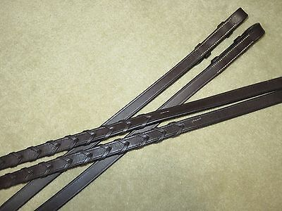 """EUC~Supple & LOVELY QUALITY Dark Brown English LACED Leather Reins~5/8"""" x 105"""""""
