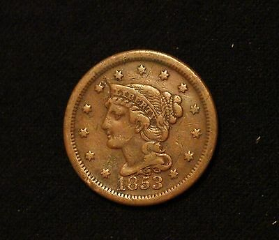1853 1C Braided Hair Large Cent VF FROM OLD COLLECTION!