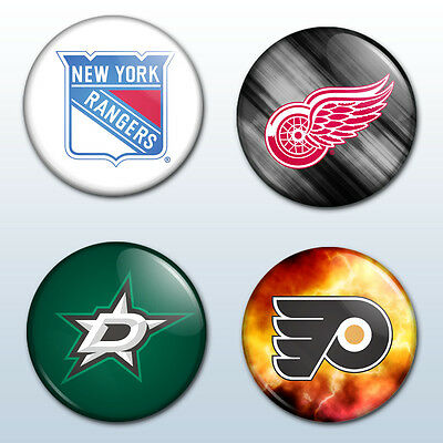 NHL Ice Hockey Team Logo 25mm Pin Button Badge Set Pack x 4 Gift Any Team