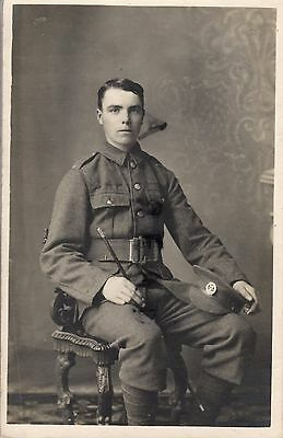 WW1 Soldier Hampshire Regiment holding swagger stick