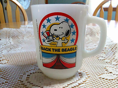 Vintage Anchor Hocking Fire King Snoopy BACK THE BEAGLE Mug 1980 Collector #1