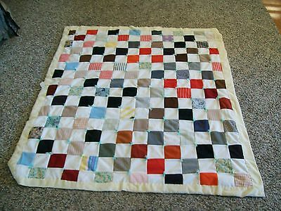 Vintage 1980s Small Double Knit Material Quilt Throw--Multicolored