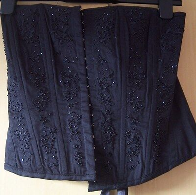 Ladies Black Basque/corset Size 10 Beaded With Tie Back Gothic Style