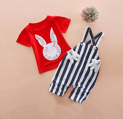 Baby girls clothes top&bib pants 2PCs summer casual Outfits bunny RED 18-24 M