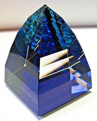 Swarovski crystal paperweight pyramid,bermuda blue color.Box+certificate.