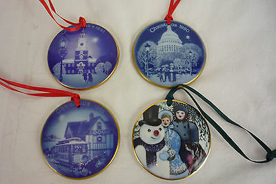 Lot of 4 Royal Copenhagen Porcelain Christmas Ornaments 1990 1991 1992 AMERICA
