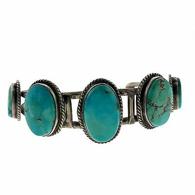 Navajo Delicate Sterling Silver Turquoise Five Stone Cuff Bracelet