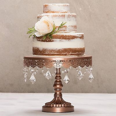 "Amalfi Decor Cake Stand w/ Crystals 10"" Round Metal Wedding Party Display Tower"