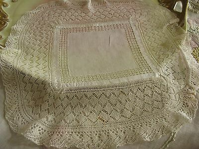 Antique Wedding Handkerchief Hand Made Extra-Fine Knitted Lace Trim, Perfect!