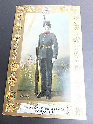 QUEENS OWN RIFLES, Canada, Pre WWI Postcard depicting soldier- SCARCE !