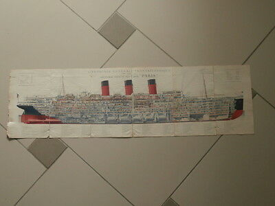 """Sebille,Albert (1874-1953)French Line Sectional View of the New Liner """" PARIS"""""""