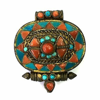 Tibetan Rare Old Silver Gold Gilded Coral and Turquoise Holy Script Box Pendant