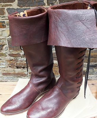 Mens Long Brown Leather Boots for Re-enactment,  size 11