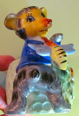 Shefford Baby Bear & Bees & Honey Pot Vintage Posey Planter Hand Decorated Cute!