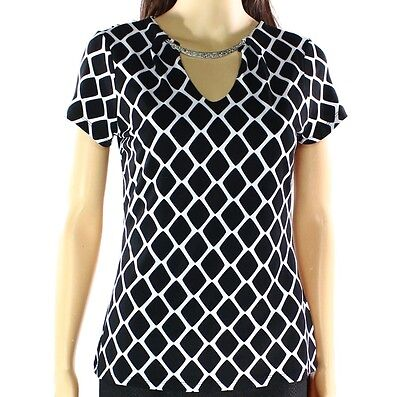 INC NEW Black White Womens Size Small S Geo Print Silver Hardware Blouse $64 253