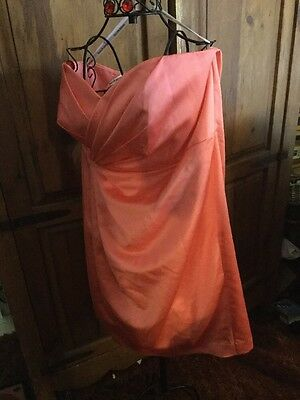 Prom Formal Evening Party Dress Peachy Coral Strapless Size 16 David's Bridal