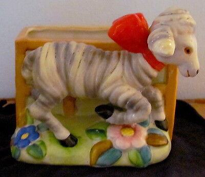Vintage Posey Planter Lamb With Red Bow Cute! Collectible Item