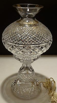 """Vintage Waterford Crystal Alana 14"""" Inishmaan 2 Piece Electric Hurricane Lamp"""