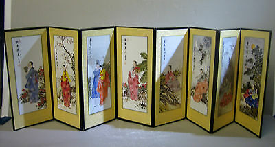 Hand painted Korean style miniature screen