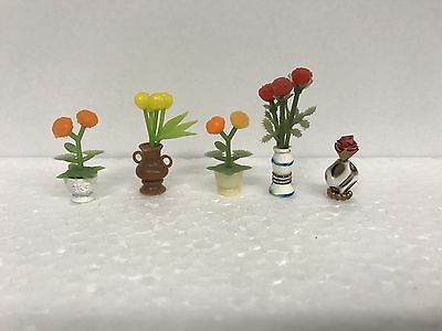 Vintage Lot Of Vases With Flowers Dollhouse Furniture Accessories