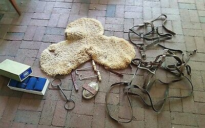old vtg Horse tack leather bridle tanback bandage Duplex curry comb anchor brush